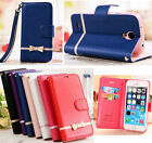 Bowknot Strap Card Stand Leather Wallet Flip Case Cover For iPhone 6/6S/7/7 Plus