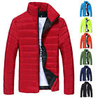 XMAS TOP SALE WINTER DOWN JACKET Mens Slim Stand Collar Padded Down Coat Parkas