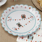 Patchwork Owl Baby Shower Christening First 1st Birthday Party Plates Cups
