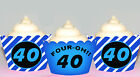 Milestone 40 40th Birthday Party 15 Wraps Cupcake Cases Cake Wrappers Cup Cake