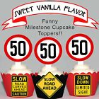 50th Birthday Party Milestone EDIBLE wafer 15 Cupcake Toppers PRECUT cup cake