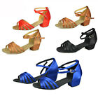 New Kids Medium heel Salsa Tango Glitter Dance Ballroom girls Latin Shoes 3089