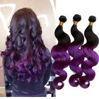 100% Brazilian Virgin Human Hair Extensions 100g Body Wave 1b/Purple# Remy Hair