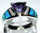 Amethyst & Blue Fire Opal Inlay Solid 925 Sterling Silver Ring size 6, 7, 8, 9