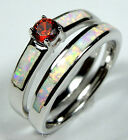 Garnet & White Fire Opal Inlay 925 Sterling Silver Solitaire Band Ring Set 6-9