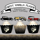Vintage Car Mens Party Art Deco EDIBLE wafer 15 Cupcake Toppers PRECUT cup cake