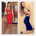Women Sexy Backless Evening Pencil Skirt Sleeveless Two Piece Bodycon Dress LJ