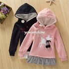 Kid's Baby Girl Bow Knot Velvet Star Deer Hooded Tops Skirt Coat Hoodie Dress