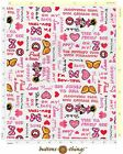 MICKEY or MINNIE MOUSE WORDS Cotton Fabric Your Choice Pink or Blue By the Yard
