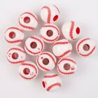 80/400x Hot Selling Crafts Red Baseball Round Ball Charms Acrylic Spacer Beads L