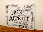 White Glass Splashback with Bon Appetit Text Design, Any Colour / Size Available