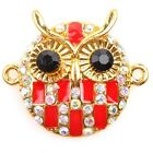 5/25pcs Pretty Gold AB Rhinestone Colorful Enamel Owl Alloy Charms Connectors L