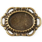 40/200pcs 144988 New Oval Blank Vintage Bronze Charms Alloy Connector Pendants