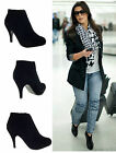 WOMENS LADIES BLACK FAUX SUEDE MID HEEL STILETTO COURT SHOES ANKLE BOOTS SIZE