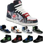 MENS ANKLE HI HIGH TOP TRAINERS BOYS SKATE BASEBALL SCHOOL BOOTS SHOES SIZE 7-12