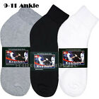 1 Dozen 4-12 Pairs Lot Men's Thick Sports Cotton Ankle Socks 9-11 White Black