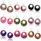 Colored Shell Flower Peacock Style Dangle Hook Earring Eardrop Hoop Earrings