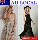 Backless Elegant Floral Lace Women Maxi Full Length Evening Party Dress AU