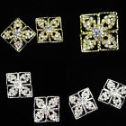 Lot 2 Beautiful Rhinestone Diamante Silver Gold Shank Button For Sewing Craft