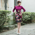Внешний вид - Long Sleeve  Chinese Cheongsam Cheong-Sam Qipao Dress purple-Fast Ship from USA