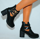 WOMENS ANKLE BOOT CHUNKY MID HEEL PLATFORM GOLD BUCKLE CUT OUT BIKER BOOTS SHOES