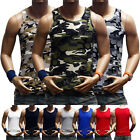 Men's Tank Top Muscle T-Shirt Camo Sleeveless Tee  A-Shirt Cotton S-3X Black