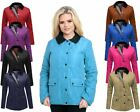 WOMENS QUILTED PADDED COAT BUTTON ZIP TOP LADIES JACKET  8 10 12 14 16 18 20