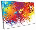 Modern Rainbow Splash Abstract Framed Canvas Wall Art Picture Print