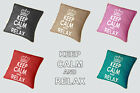 PACK OF FOUR - KEEP CALM AND RELAX ZIPPED CUSHION COVER WITH PIPED EDGING