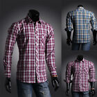 New Stylish WESTERN Mens CHECK Slim Fit Casual Shirt Shirts Top Long Sleeve S-XL