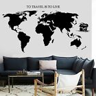 Decal World Map Ship Yacht Waves Quotes To Travel Is To Live Vinyl  (z2835)