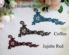 Four pieces coffee/turquoise blue/jujube red sewing applique trim(48#)