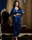 Gorgegous Blue & Black silk blend 3pcs Women's Sleepwear/ Pajama Set M/L/XL/2XL