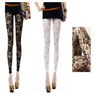 New Fashion Sexy Women's Hollow Out Floral Lace Leggings  White / Black