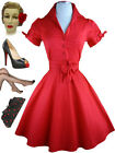50s Style SOLID RED Tie Sleeve Full Skirt Rockabilly PINUP Day Dress with SASH