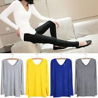 NEW Fashion Women Loose Casual Long Sleeve Shirt Tops Lady V-Neck Blouse Tee
