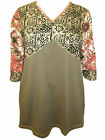 ULLA POPKEN Floral Geometric Stretch Cotton Tunic Top OLIVE FOIL 12/14 to 24/26