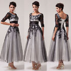 Half Sleeve Applique Lace ROCKABILLY Evening Formal Prom Masquerade Party Dress