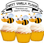 Bumble Bee Birthday Party EDIBLE wafer 15 Cupcake Toppers PRECUT cup cake