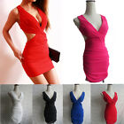 Hot Women Lady Sexy Deep V-Neck Sleeveless Clubwear Hollow Slim Dress Mini Skirt
