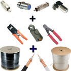 1000FT RG6 Coaxial Cable Wire Black  White With Tool set And Connectors Coax