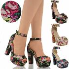 LADIES WOMENS HIGH HEELS PLATFORM FLOWER BLOCK STRAPPY SUMMER WEDGE SANDALS SIZE
