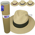 Kyпить Straw Fedora Sun Hat - Panama Trilby Style Crushable Mens Ladies & Travel Tube на еВаy.соm