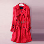 New red long cotton twill belted trench coat