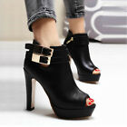Women's Fashion High Heels Buckle Open Toe Ankle Martin Boots Shoes New Arrival