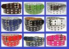 Double Row Leather Belt w/ Silver 2 Grommet Two Holes Buckle Black Navy White
