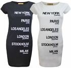 NEW LADIES WOMENS SHORT SLEEVES NEW YORK CITY STRETCH MIDI DRESS LONG TOP 8-14