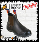 New Mongrel Work Boots Brown Elastic Sided Steel Toe Safety 545030