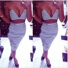 Sexy Lady Black&White Stripe Deep V-neck Crop Top High Waisted Bodycon Dress LJ