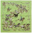NEW Authentic Hermes Silk Scarf LES MUSTANGS Robert Dallet Green